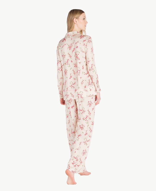 "Satin pyjamas ""Peach Powder"" Pink Microflower Print Woman LS8BFF-04"
