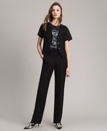 Washed T-shirt with print Black Woman 191TT2490-0T