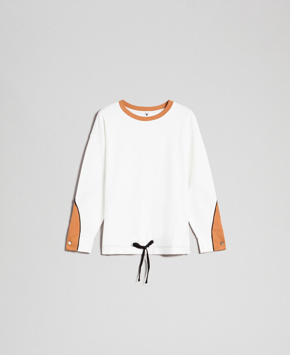 "Sweatshirt with contrasting bands and drawstring Ivory / ""Camel Skin"" Beige Woman 192LI2HAA-0S"