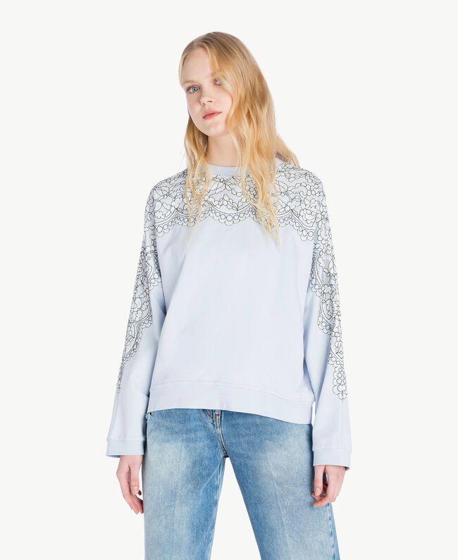 Sweatshirt aus Spitze Topaz Hellblau Frau JS82H1-04