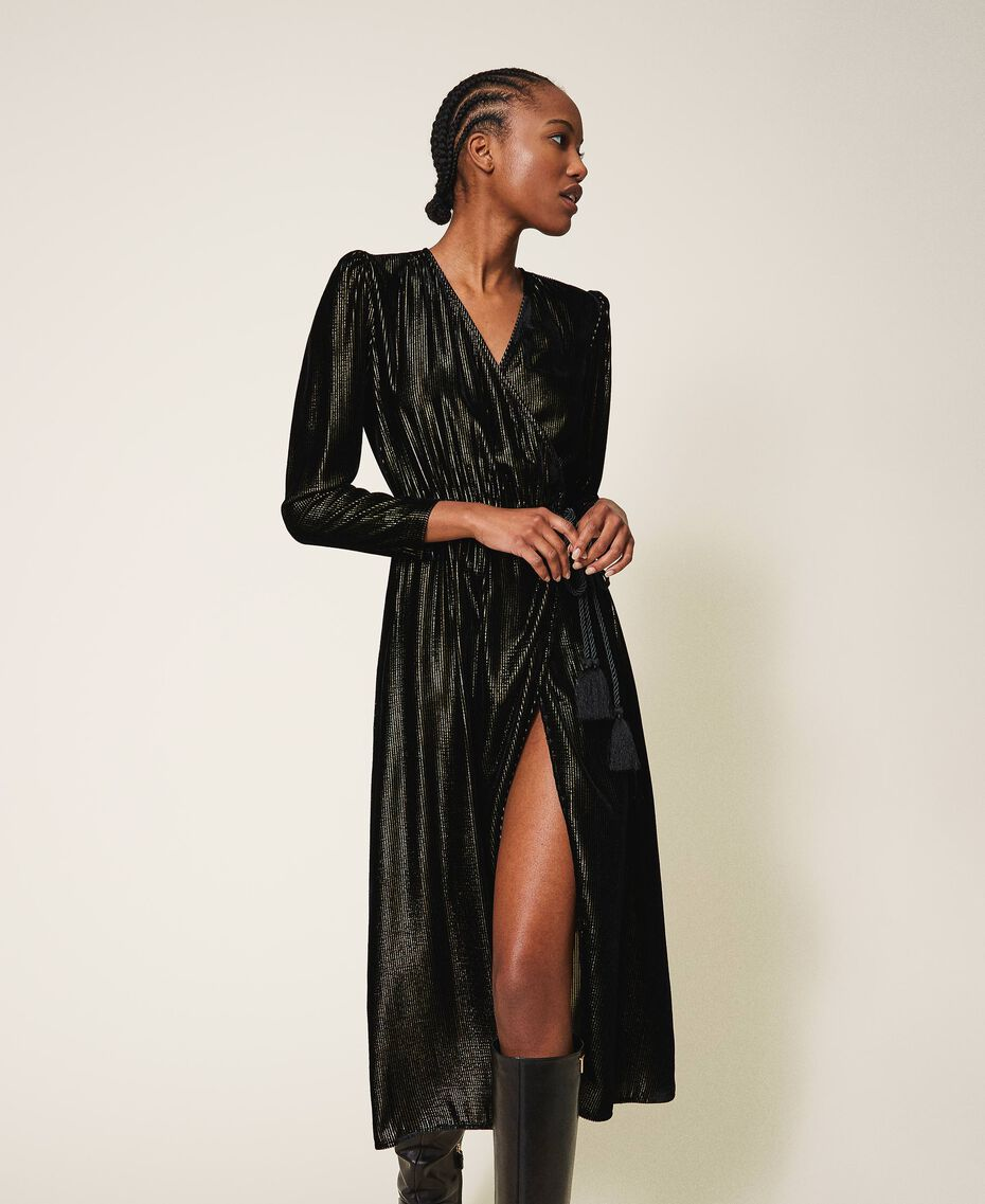 Long velvet dress Black Woman 202TT2160-01