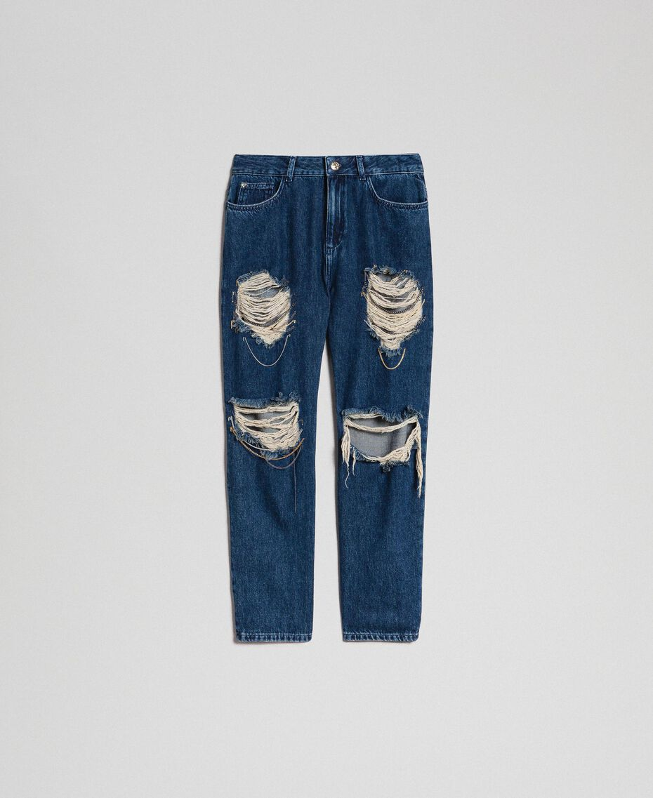 Girlfriend jeans with rips and chains Denim Blue Woman 192MT2223-0S