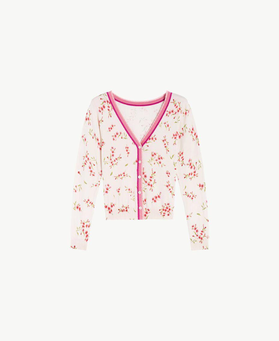 Cardigan imprimé Imprimé Petite Fleur Rose «Pêche Poudré» Femme LS8BTT-01