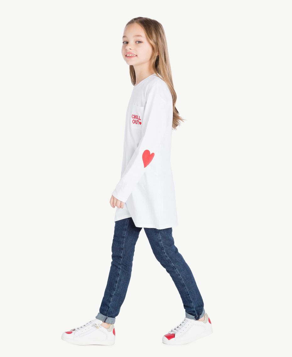"""Maxi T-shirt with pocket Two-tone """"Papyrus"""" White / Pomegranate Red Child GS82KB-03"""
