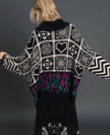 Pull jacquard en laine mélangée Jacquard Blanc «Neige»/ Noir Femme 192TT3160-03
