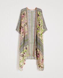 "Krepp-langer Kimono mit Schalaufdruck Motiv ""Lemon Juice"" Gelb Schal Frau 191LB2HLL-0S"