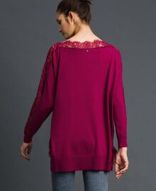 Maxi jumper with lace inlays Beet Red Woman 192TP3160-03