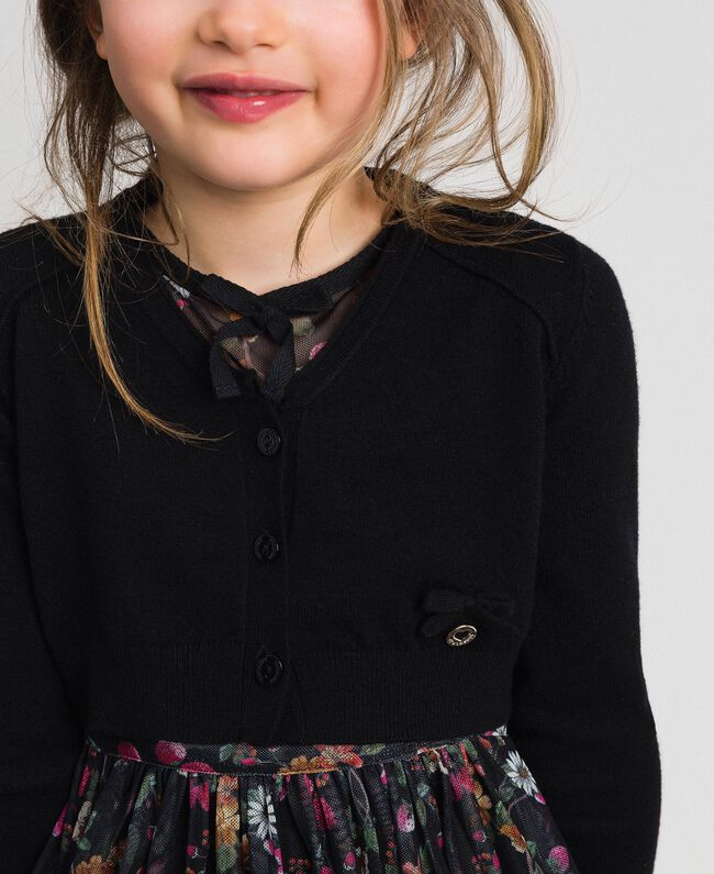 Cardigan with bow and logo Black Child GCN3AA-04