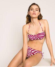 Printed bandeau bikini top Flirty Rose Zebra Print Woman 201LBMG11-01