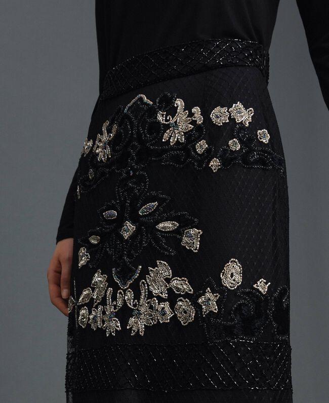 Jupe en tulle plumetis avec broderie florale Noir Femme 192TT2044-04