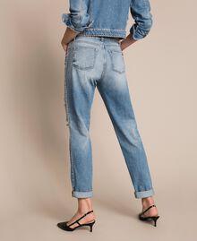 Rhinestone Girlfriend jeans Denim Blue Woman 201MP2275-03