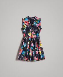 Kleid mit Blumenprint und geraffter Taille All Over Black Multicolour Flowers Motiv Frau 191MT2295-0S