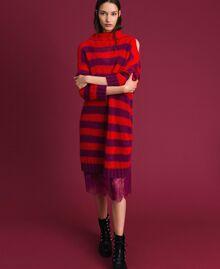 Gestreiftes Kleid aus Mohair mit Unterkleid Streifen Rote-Bete-Rot / Granatapfel Frau 192TP3270-01