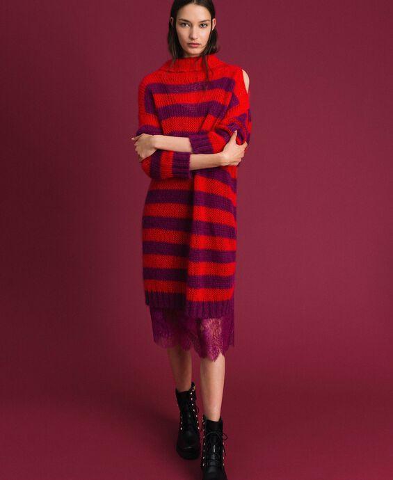 Gestreiftes Kleid aus Mohair mit Unterkleid
