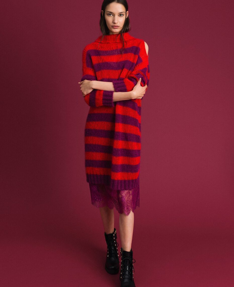Striped mohair dress with slip Beet Red / Pomegranate Stripe Woman 192TP3270-01