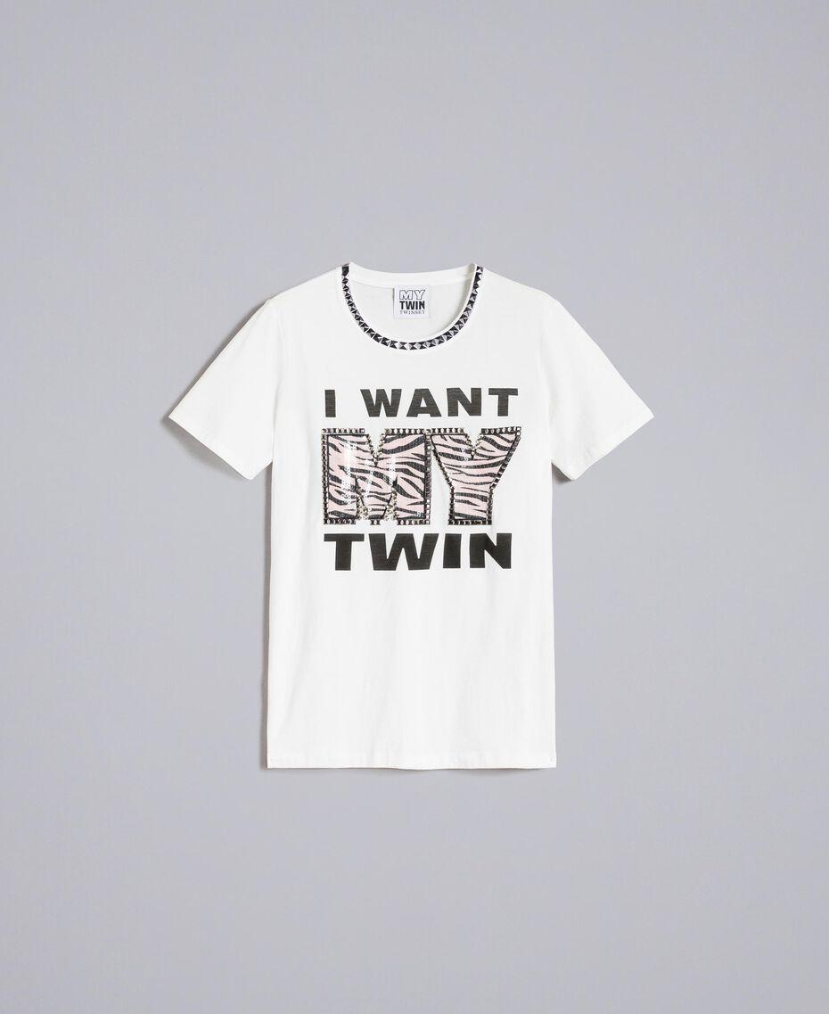 T-shirt avec imprimé et clous Nacre Femme JA82RA-0S