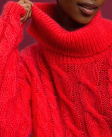Cable knit mohair jumper Coral Pink Woman 192TT3271-04
