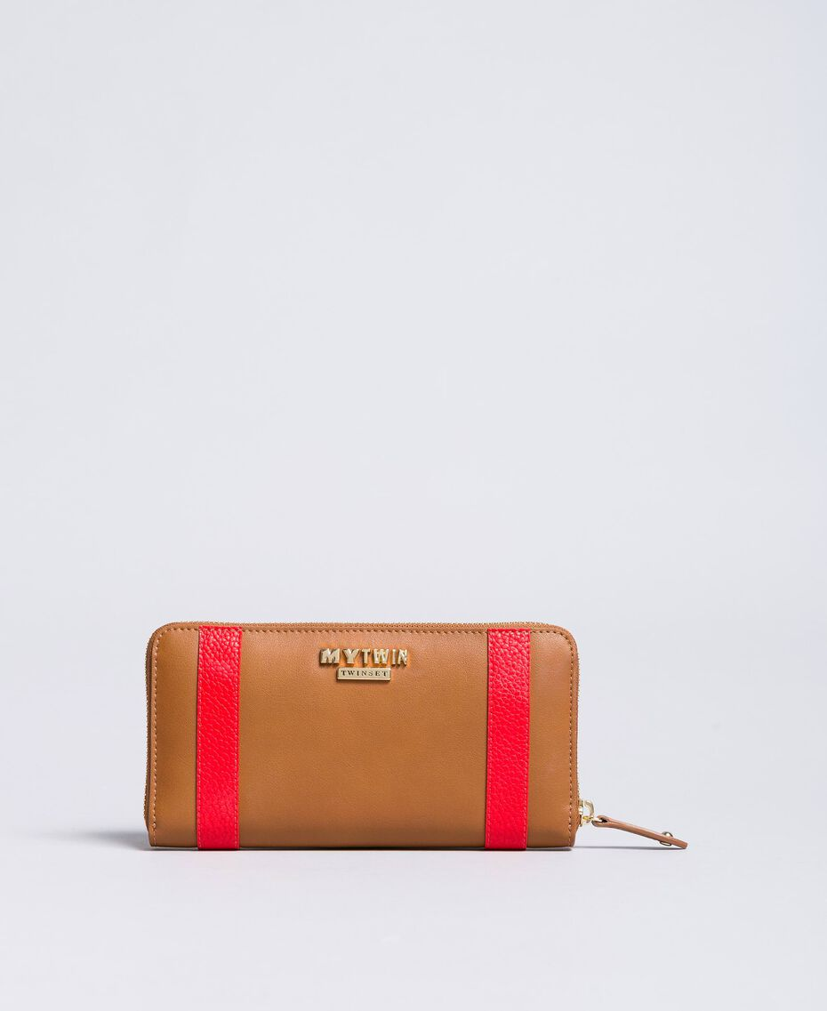 """Faux leather wallet with patch """"Toffee"""" Brown Star Woman RA8TGP-02"""