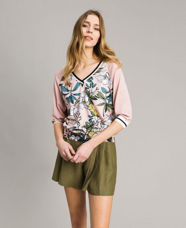 """Lurex-Pullover mit Blumenmuster Motiv Exotisch """"Soft Pink"""" Frau 191ST3122-03"""
