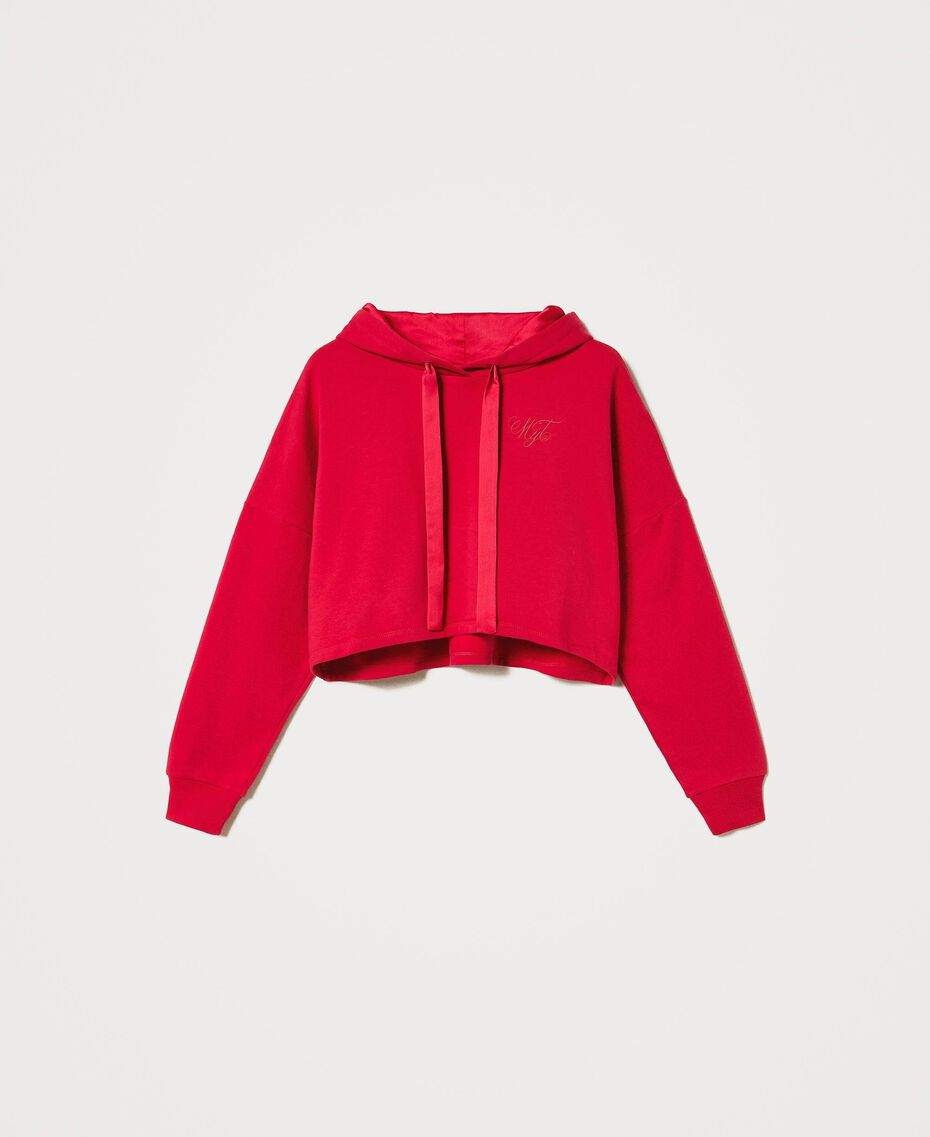 "Cropped hoodie ""Cerise"" Fuchsia Woman 202MP2163-0S"