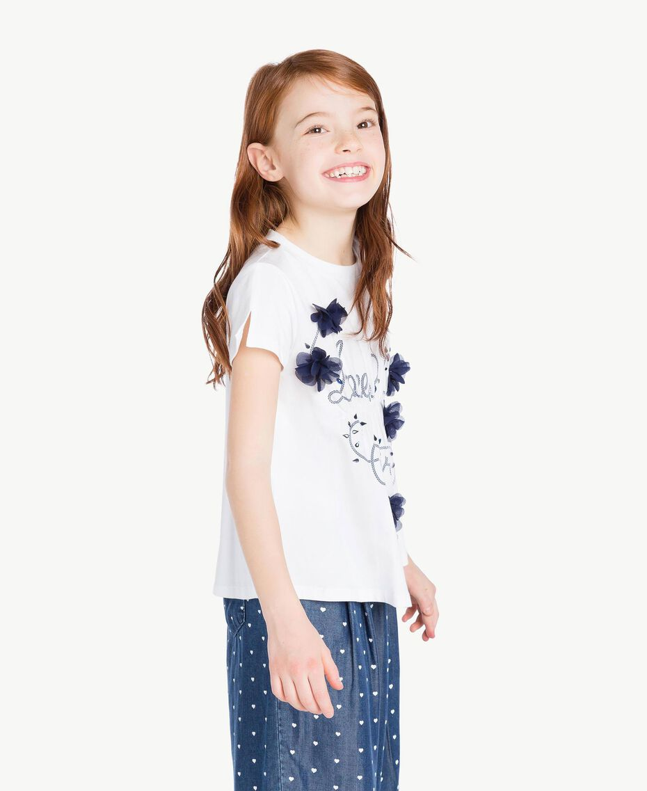 "Embroidered T-shirt Two-tone ""Papyrus"" White / Ocean Blue Child GS82JD-03"