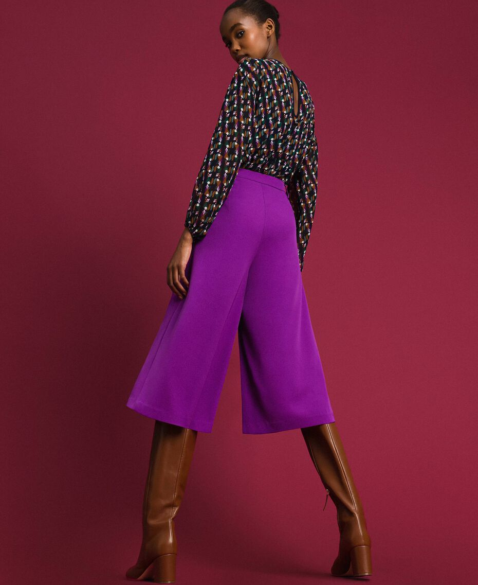 Trouser-skirt with pleats and logo Purple Woman 192ST2164-03