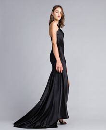Langes Kleid Schwarz Frau QS8TGE-02