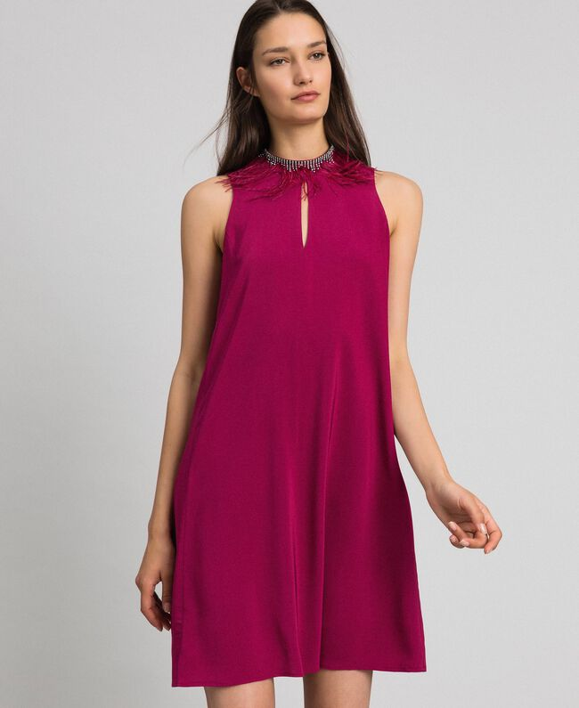 Georgette dress with removable jewel Beet Red Woman 192TP2111-01