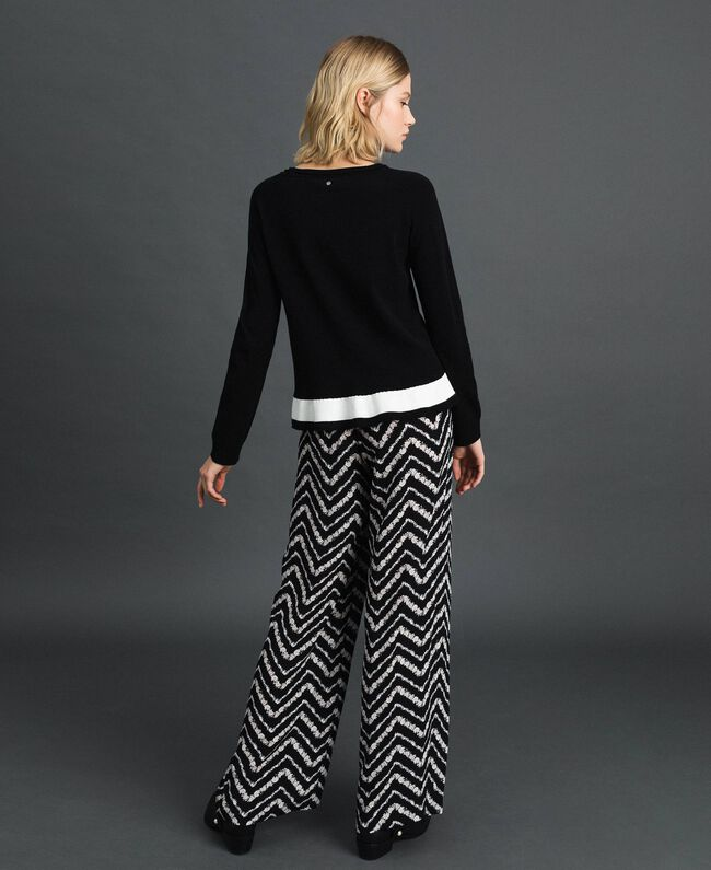 """Contrasting band jumper Black / """"Papyrus"""" White Woman 192TP3104-03"""