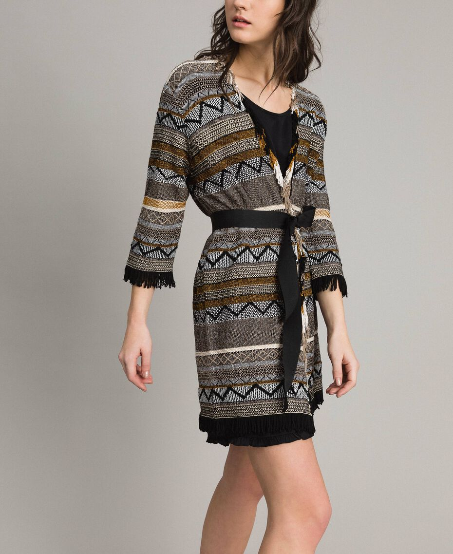 Maxi cardigan with inlay details and fringes Multicolour Neutral Grey Striping Woman 191TT3160-02
