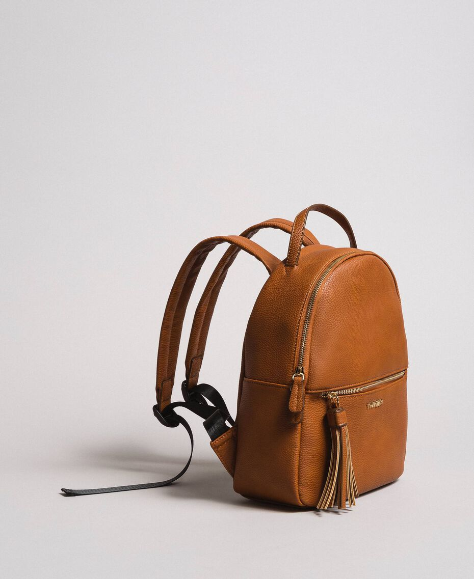 Faux leather backpack with tassel Leather Brown Woman 191TA7603-02