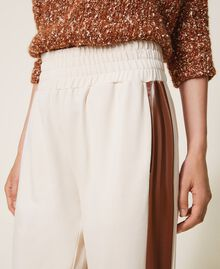 """Trousers with patent leather inlays Two-tone Cloud Pink / """"Terracotta"""" Brown Woman 202LI2JCC-04"""