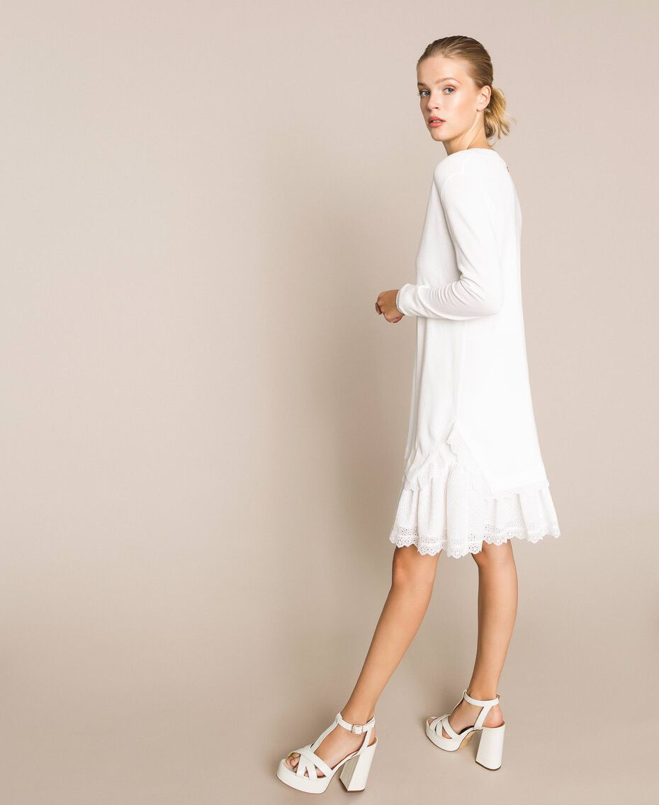 Knitted dress with broderie anglaise flounce White Snow Woman 201TP3041-02