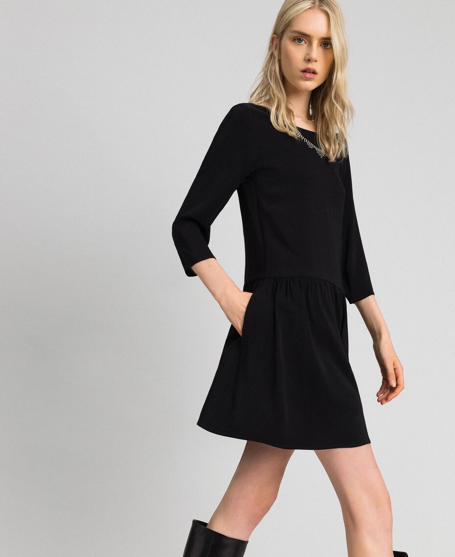 Georgette dress with removable jewel Black Woman 192TP2110-02