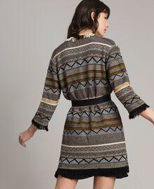 Cardigan oversize avec détails incrustés et franges Rayures Multicolore Gris Neutre Femme 191TT3160-03