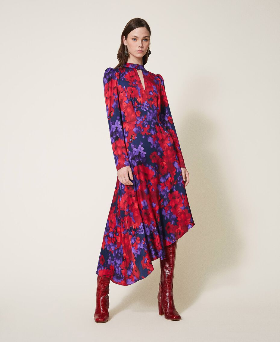 "Floral print satin dress ""Vibrant"" Purple / Venetian Red Floral Print Woman 202TT2350-01"