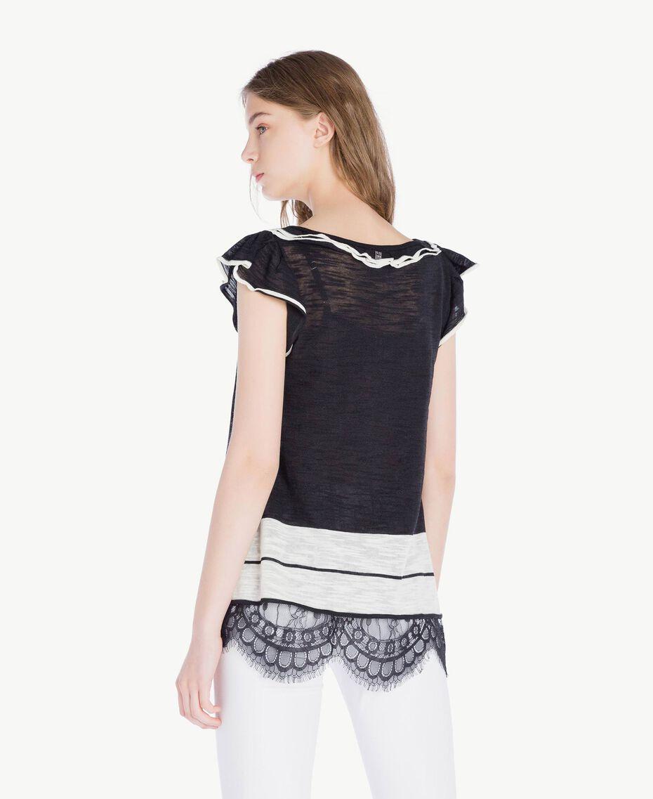 Top dentelle Bicolore Noir / Blanc Parchemin Femme YS83BB-03