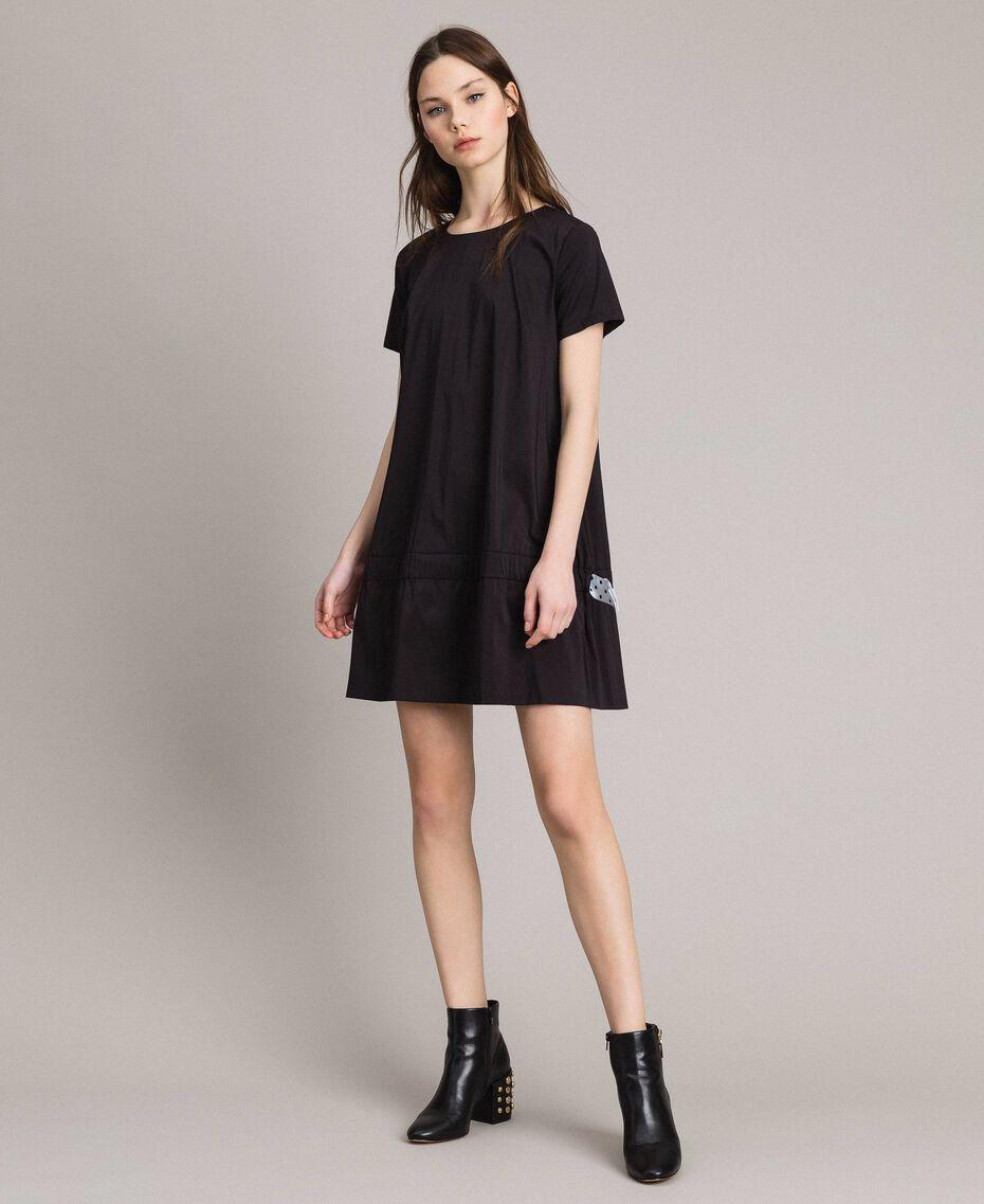Robe en popeline avec cordon Noir Femme 191MP2191-03