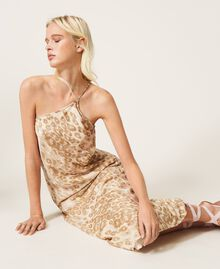"""One-shoulder satin dress with animal print """"Dune"""" Beige Animal Print Woman 202MP243A-01"""