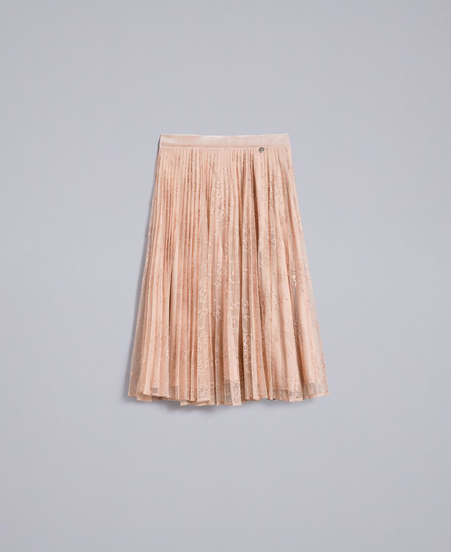 "Pleated lace skirt with lurex ""Nude"" Beige Woman SA82HH-0S"