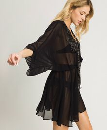 Chiffon kaftan with fringes Black Woman 191LM2BFF-02