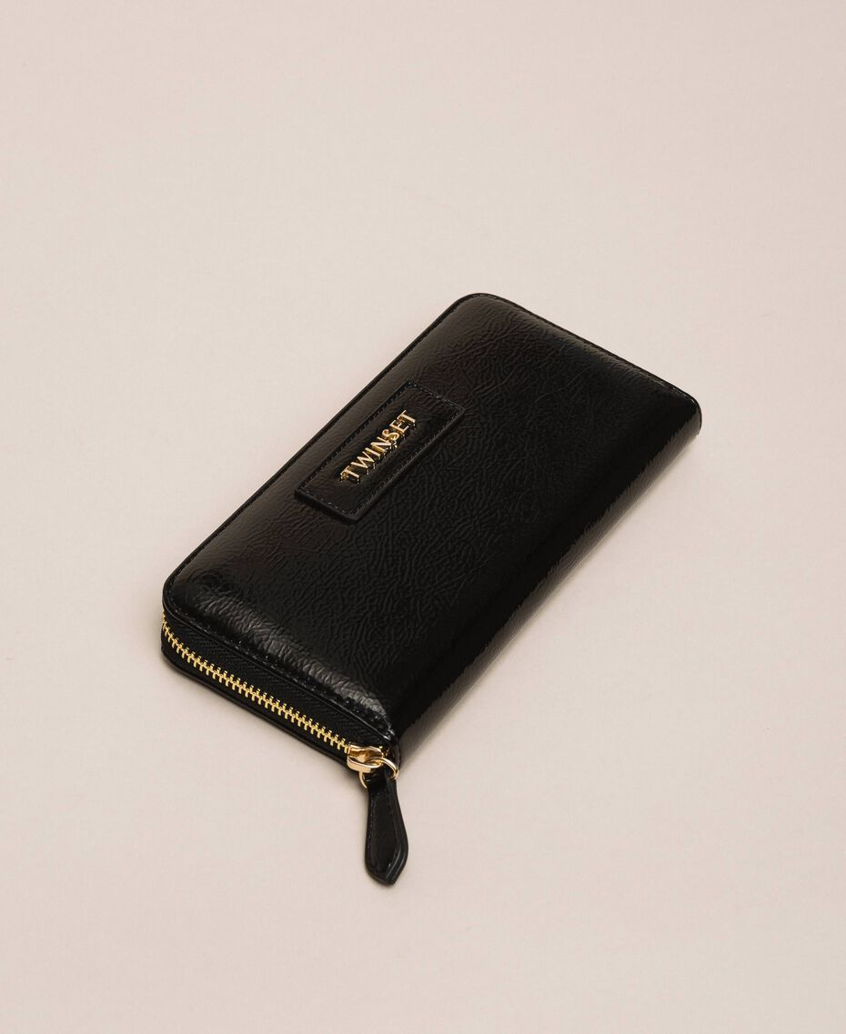 Patent leather effect faux leather wallet White Woman 201TO8270-02