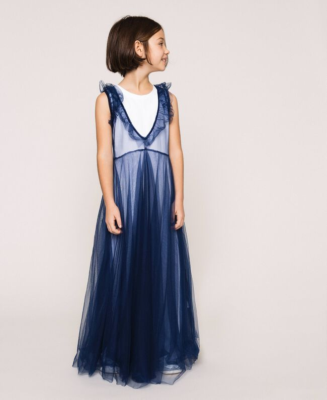 """Full-length tulle gown with ruffle Two-tone Night Blue / """"Papers"""" White Child 201GJ2Q50-01"""