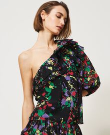 """Rigel"" printed georgette one-shoulder top Black ""Spots"" Multicolour Woman 211MT2653-02"