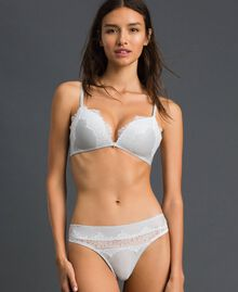 Lurex G-string with lace inlay Silver Lurex Grey Woman 192LL6B88-01