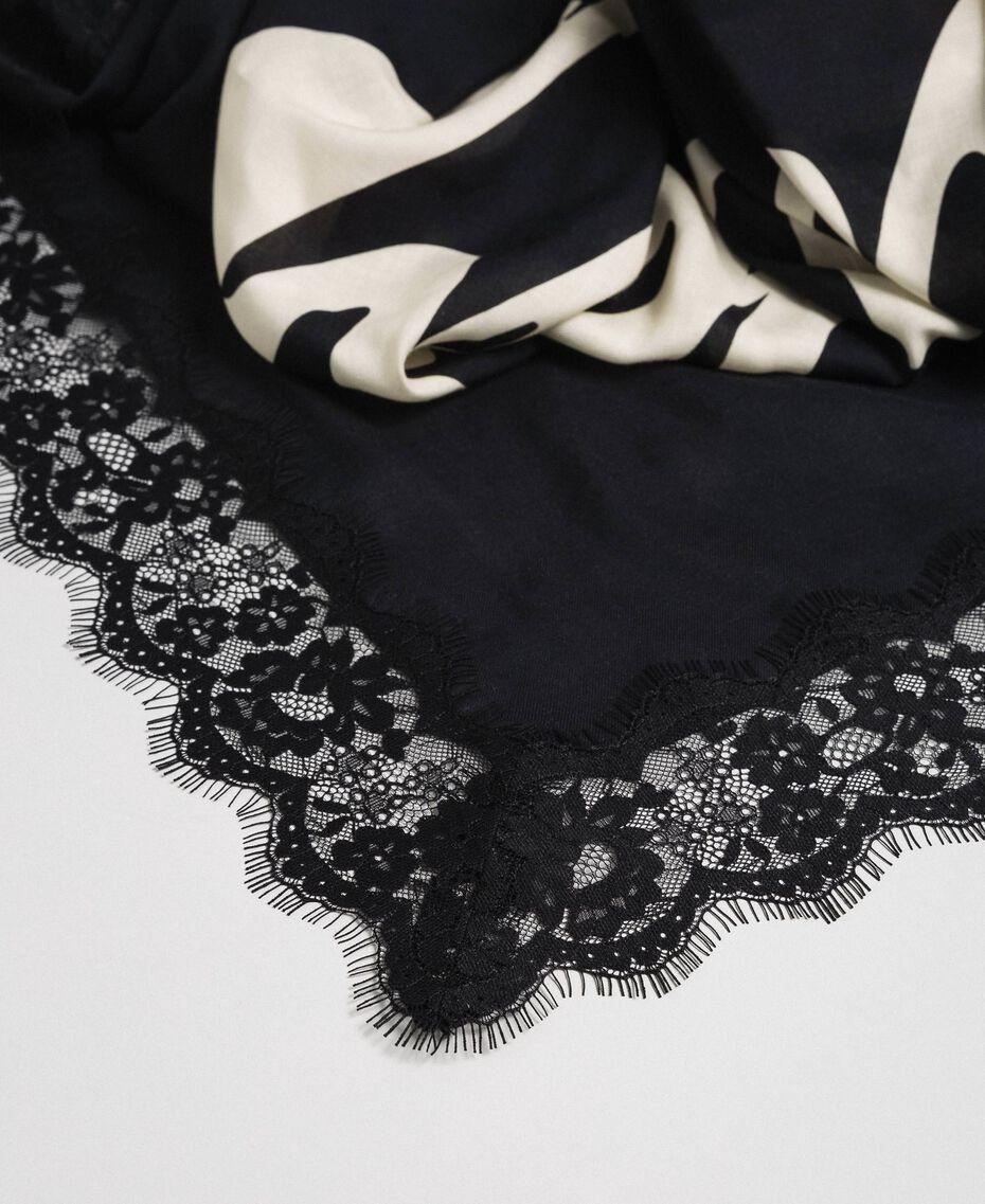 Heart print and lace kefiah Black / Vanilla MyTwin Print Woman 192MA432E-02