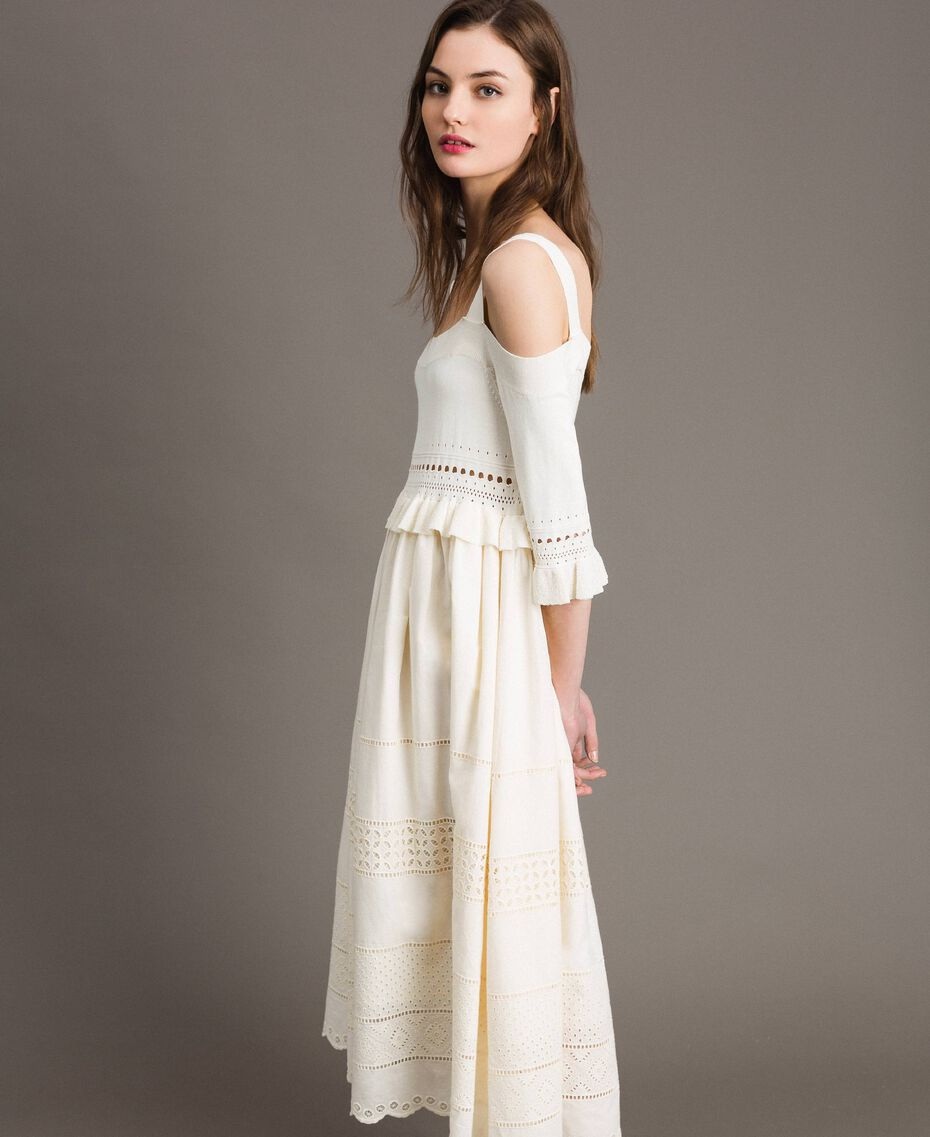 Broderie anglaise knit dress White Snow Woman 191TT3013-01