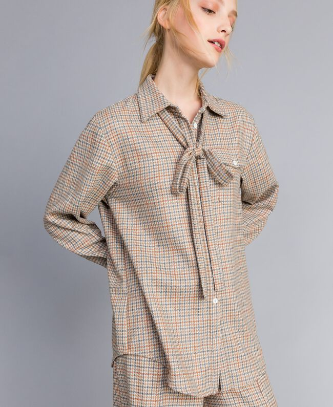 Printed flannel shirt Multicolour Check Woman TA8215-03