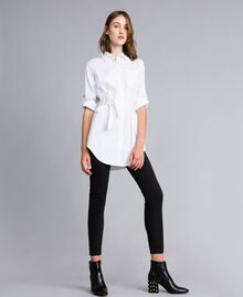 "Stretch poplin long shirt ""Ice"" White Woman JA82JA-01"