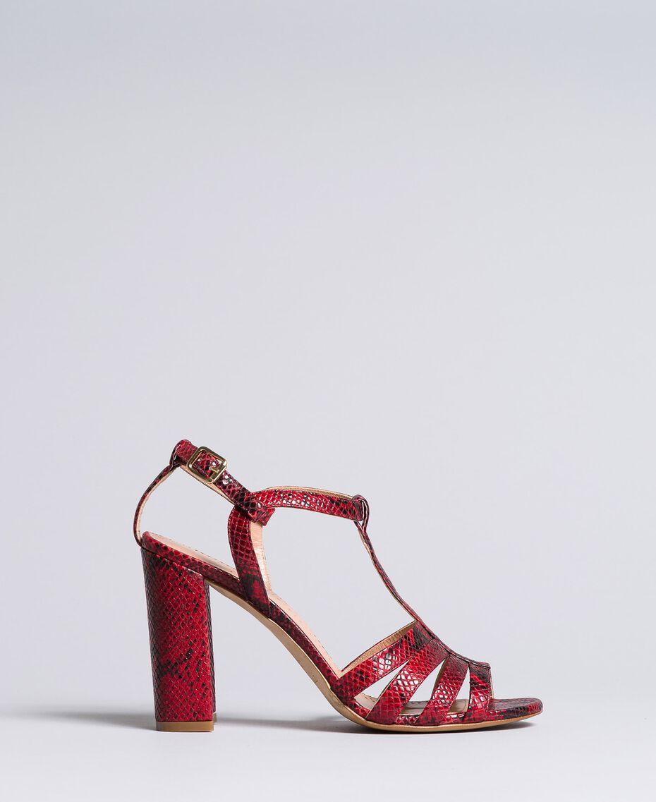 Sandales en cuir animalier Python Bordeaux Femme CA8PQ3-01